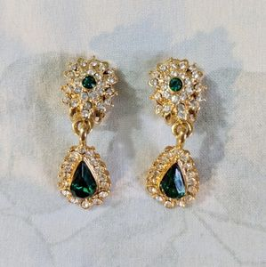 Vintage Gold and Green Clip On Earrings